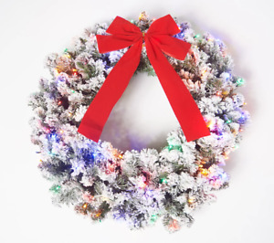 "NIOBBethlehem Lights 26"" Flocked Overlit Wreath with Bow. Multi Lights. H219093"
