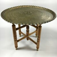 """VTG 18"""" Solid Etched Brass Table w/ Brass Feet LG Mid Eastern Wall Hanging MCM"""