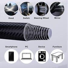 4D Premium HIGH GLOSS Black Carbon Fiber Vinyl Wrap Bubble Free Air Release