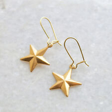 Star Drop Dangle Earrings - Gold Brass Star Charm Earrings