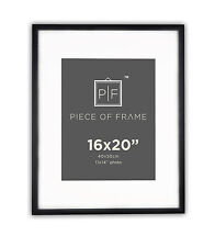 16x20 Black Photo Frame, with Mat for 11x14 Pictures, & Real Glass