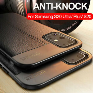 For Samsung Galaxy S20 S10 Note 10 Shockproof Rubber TPU Leather Back Case Cover