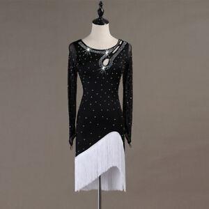 Latin Dance Dress Salsa Tango Cha cha Ballroom Rhinestone Competition Dress 394
