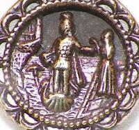 Antique Picture Button Lohengrin's Farewell Elsa Dove Stamped Tinted Brass #34
