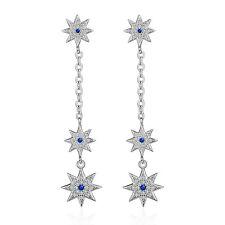 Solid 925 Sterling Silver Zircon Sapphire Sun Star Ear Stud Dangle Earrings