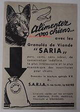 Publicité ancienne Saria aliments pour chiens,granulés de viande  1932,clipping