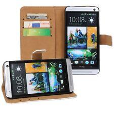 HTC One M7 custodia  in pelle a portafoglio nero flip case cover