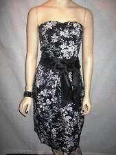 Black & White Floral Strapless Satin Bow Vintage Retro Pencil Bodycon Dress