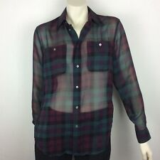 Polo RALPH Lauren Blue Label NWT Womens Purple Plaid Sheer Shirt Sz XS