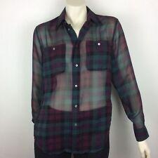 Polo RALPH LAUREN Blue Label NWT Purple Plaid Sheer Shirt Sz XS (fits Sz 10)
