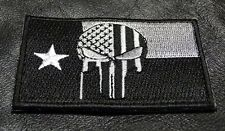 PUNISHER SKULL TEXAS FLAG EMBROIDERED  Tactical Morale 3 INCH IRON ON PATCH TX01