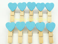 10 x Mini Love Heart Pegs (Blue) | Wood/Wooden Clip Gift Wrapping Wedding Tag