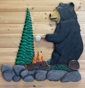 Hand Carved Bear Fire Roasting Marshmallow Chainsaw Carving Wood Wall Art Rustic