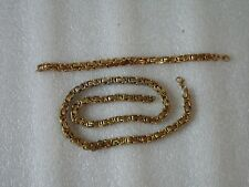 Solid Byzantine Square Chain Big Necklace+Bracelet Stainless Steel Set Gold Tone