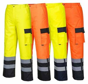 PORTWEST Hi Vis Contrast Trousers Lined Waterproof Padded Elastic Safety S686