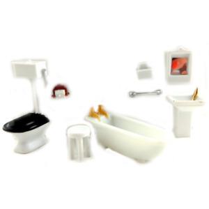 Dolls House Miniature 1:48 Scale Plastic Bathroom Furniture Set Suite