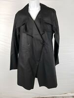 NWT $308 Cynthia Ashby Black Faux Leather Medium Collared Zip Up Long Jacket
