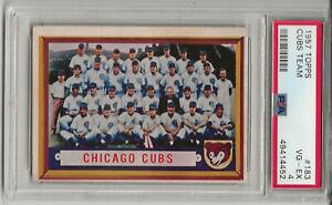 1957 TOPPS #183 CHICAGO CUBS TEAM, PSA 4 VG-EX, ERNIE BANKS, FRESHLY GRADED