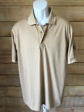 Boy Scouts Of America Men's Beige Solid Short Sleeve Polo Shirt Medium