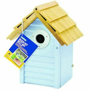 Gardman Beach Hut Nest Box Wild Birds Wooden   15x18.5x24cm Garden Blue Colours