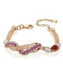 Women's Fashion Trendy Rose Gold Plated Zirconia Crystal Bracelet Bangle Jewelry