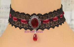 Black Lace Velvet Necklace Choker Glass Jewel Goth Victorian Steampunk medieval
