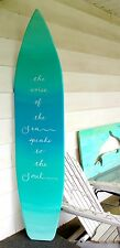6 foot wood surfboard wall art in an light ocean ombre effect with quote