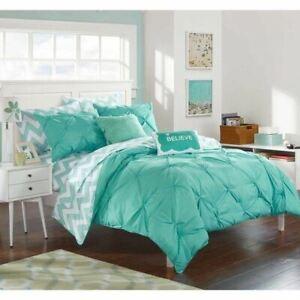 Aqua Blue White Pintuck Pleated Chevron 9 pc Comforter Set Twin XL Full Bedding