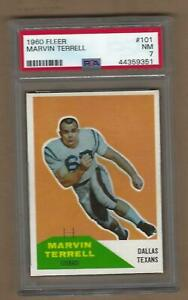 1960  FLEER  FOOTBALL  MARVIN TERRELL  #  101   PSA  7