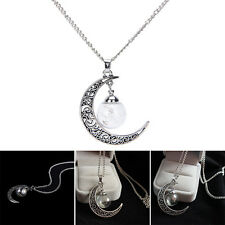 Wish Glass Moon Dandelion Seeds in Glass Pendant Long Necklace Lady Gift H&P