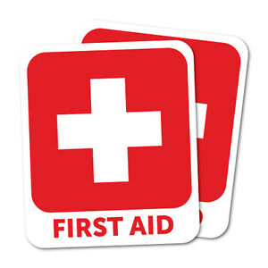Red First Aid Sticker x2 Decal Safety Sign Car Vinyl #7632NM