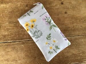 Handmade Grey Floral Botanical Floral Glasses Case Padded Zip Closure