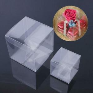 10pcs Square Transparent PVC Cube Gift Candy Boxes Wedding Part Decor New C Q6P7