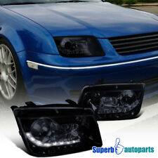 For 1999-2004 Jetta Led DRL Projector Smoked Headlight Glossy Black SpecD Tuning