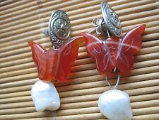 Pendenti Farfalle di Corniola con Perla-Arg.925