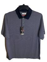 Mens Grand Slam Polo Golf Shirt NEW Short Sleeve Navy Blue Striped Large