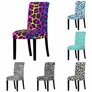 1PC Anti-dirty Universal Size Dining Living Room Leopard Printing Chair Covers