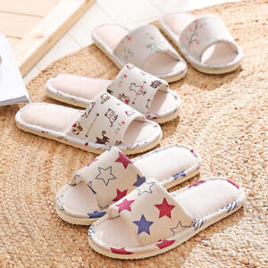 Open toe Slippers Linen Flat Shoes Couple Casual Home Indoor Slipper Comfortable