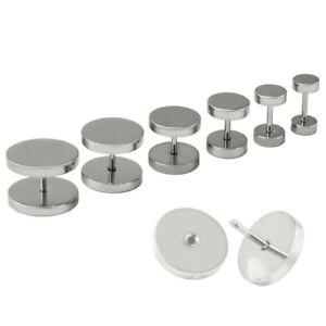 2 Fake Plugs Fake Plug Earrings Stainless Steel Tunnel 5 6 8 10 12 14 16