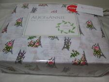 New Alice & Annie King Sheet Set Paris ~ Rose Floral Eiffel Tower, French Script