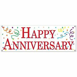 Happy Anniversary Sign Banner (Pack of 12) 57736