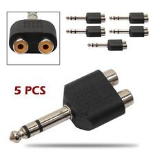 "5Pcs 6.35mm 1/4"" Stereo Plug to 2 RCA Female Jacks Splitter Audio Converter"