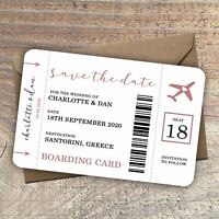 Personalised Destination Wedding Save the Date,Boarding Card/Pass, packs of 10