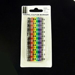 Cable Markers x 100 Colourful C-Type Marker Number Tag Label  4mm Electrician