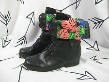 Women's Bumper Fold Over Boots Black Faux Leather Floral Size 10 Combat Bright