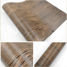 10M Vintage Old Stripes Brown Realistic Wood Plank Panel Vinyl Wallpaper Roll