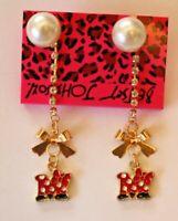 Betsey Johnson Crystal Rhinestone Enamel Pearl Minnie Mouse Post Earrings