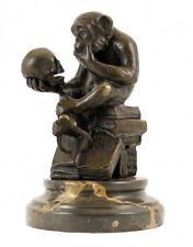 Bronzefigur - Affe mit Schädel, sig. Milo (Wolfgang Hugo Rheinhold)