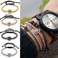Women Men Fashion Hamsa Evil Eye & 4mm Beads Braided Macrame Bracelet Wristband