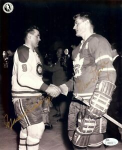 Maurice Richard Allan Stanley Dual Signed Autographed 8X10 Photo Habs Leafs JSA